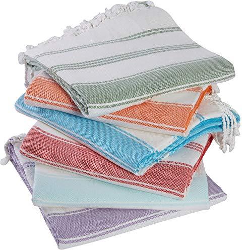 (Set of 6) 100% Turkish Cotton Bath Beach Hammam Peshtemal Towel Throw Fouta Blanket Set XL Prewashed (Multi3)