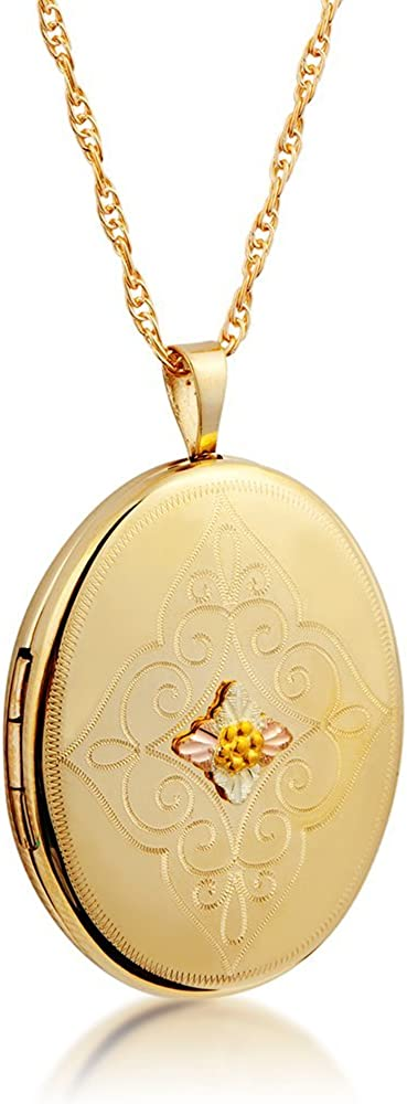Scrollwork Small Oval Locket Super intense SALE Pendant Ranking TOP13 Necklace Gold Yellow 10k