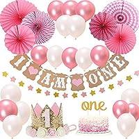 BOSONER FIRST 1st BIRTHDAY Girl DECORATIONS/Pink Theme Kit Set- Baby Girl 1st Birthday Party,Cake Topper-One, I Am One...
