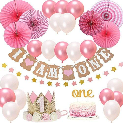 FIRST 1st BIRTHDAY Girl DECORATIONS Pink Theme Kit Set Baby Birthday Party