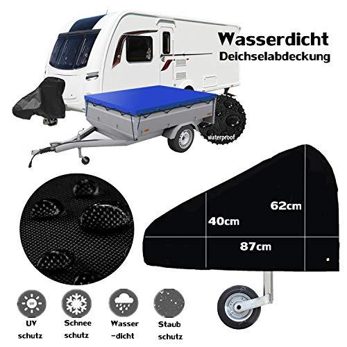 workbees Deichselabdeckung, Deichselhaubefür Wohnwagen Und Anhänger | Deichselschutzauch für Anhängertypen Mit verstellbare Schnalle (Schwarz)