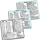 SYNERLOGIC (3-Pack) Windows 10 + Word + Excel Quick Reference Guide Keyboard Shortcut Stickers - White Vinyl (for Any PC)