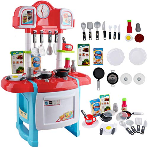 deAO Cucina Mio Piccolo Chef con Caratteristiche di Suoni, Luci e Acqua Cucina Giocattolo per Principianti Include Accessori (Rosso)