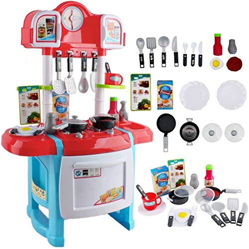 deAO Cocinita Mi Pequeño Chef con Características de Sonidos y Agua Incluye Accesosrios de Cocina (Rojo)