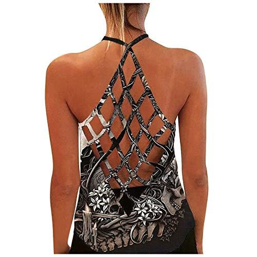 Damen Sexy Bluse Weste Mode Tanktop, personalisiertes, bedrucktes, sexy, rückenfreies Tanktop für Damen,Sporttop Yoga Rückenfrei Oberteil Laufen Fitness Funktions Shirt Tank Tops(2-Weiß:L)