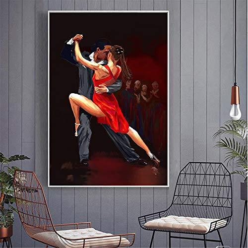 wZUN Pintura al óleo Abstracta Cartel de Baile Tango Retro decoración del hogar Imagen de Arte de Pared Mujer Encantadora Fiesta de Baile Arte 60x80 Sin Marco