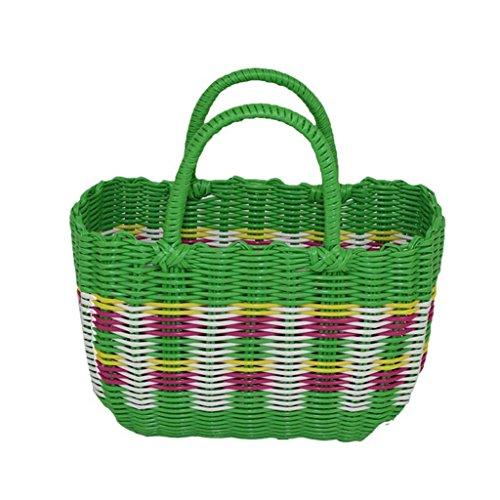 Xuan - Worth Having Green Handmade Plastic Weaving Hand Basket Bath Le Panier Panier Panier Pique-Nique Anti-Corrosion (Taille : 26 * 12 * 18cm)