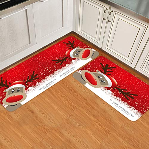 2 Piece Non-Slip Kitchen Mat Runner Rug Set Doormat hristmas Reindeer Merry Christmas Happy New Year Door Mats Rubber Backing Carpet Indoor Floor Mat (15.7' x 23.6'+15.7' x 47.2')