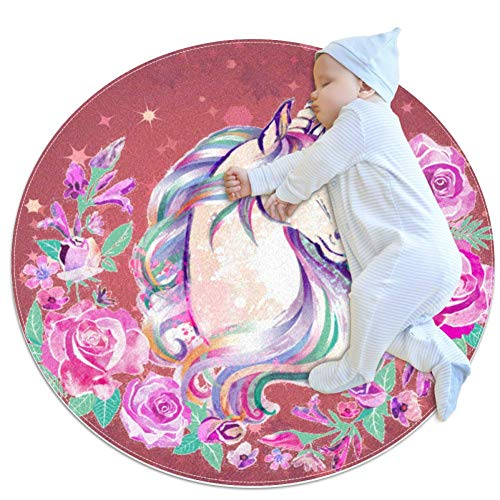 Carpet Unicorn Starry Dark Powder Nursery Round Rug for Kids Room Soft and Smooth Suede Surface Non-Slip Castle Tent Game mat Best Gift for Your Kids 2feet 3.5inch
