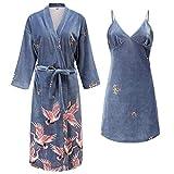 SSG Home China Mujeres New Velour Novia Dama de Honor Vestido de Kimono Albornoz Atractiva del Mini del sueño de Dormir de la Ropa de Noche de Bodas Bata Robes (Color : Gray Robe Set, Size : L)