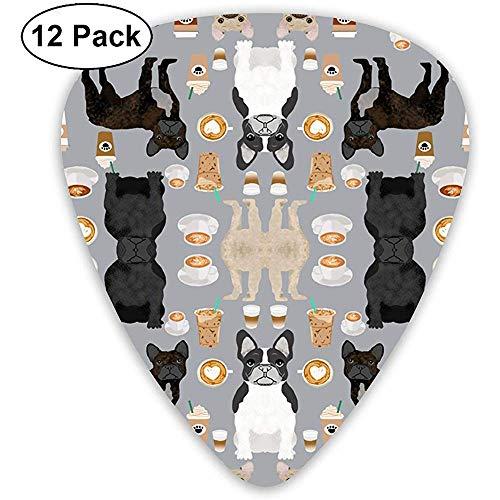 12er Pack Französische Bulldoggen Kaffee Süße Frenchies Stoff Beste Plektren Komplettes Geschenkset für Gitarristen