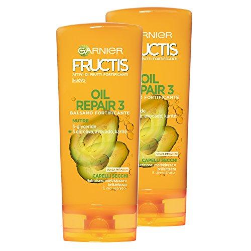 Garnier Fructis Spoeling Oil Repair 3 voor droog haar, uitgeschakeld en uitgeschakeld – op basis van 3 voedzame oliën: olijf, avocado- en sheaboter, 200 ml, 3 verpakkingen van 2 eenheden