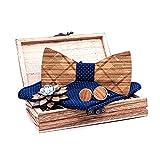 Kuty, juego de pajarita de madera. El conjunto incluye: pajarita de madera, gemelos de madera, broche de madera, pañuelo de bolsillo 100% poliéster. Estilo clásico, azul oscuro.