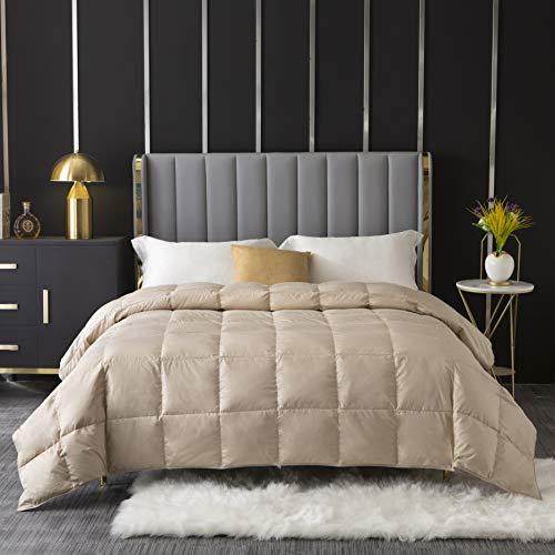 Gentle Nature Summer Lightweight White Goose Down Blanket Comforter Duvet Insert,Machine Washable,100% Down-Proof Cotton Shell,750+Fill Power,Coffee Golden,King Size