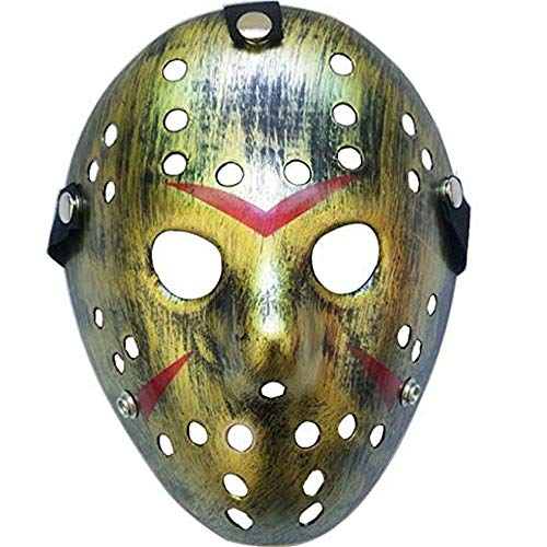 Boolavard Horror Mask Halloween-Kostüm Hockeymaske Party Cosplay Requisiten Maske (Gold)