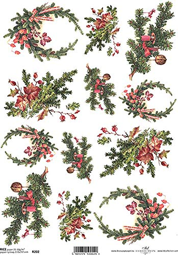 Kerst slingers dennen en linten decoupage rijstpapier R0202-1 x A4 vel decoupage rijstpapier