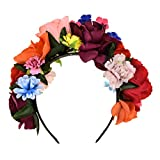 DreamLily Frida Kahlo Mexican Flower Crown Floral Headband Party Costume Day of The Dead Headpiece NC12 (Mexican Crown)