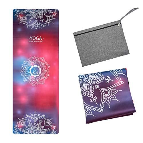 BRZSACR Tappetino yoga da viaggio ultrasottile in pelle scamosciata, morbido, che assorbe il sudore,spessore 1/16 di pollice, tappetino yoga pieghevole, viene fornito con borsa per il trasporto