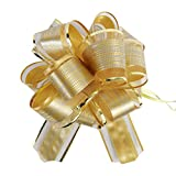 """Allgala 12-pc 6"""" Large Everyday Pull Bows, Gold"""