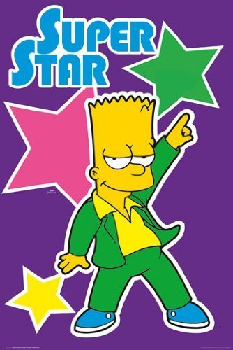 HUGE LAMINATED / ENCAPSULATED Simpsons Superstar Bart POSTER measures 36 x 24 inches (91.5 x 61cm) by Posterjacks UK