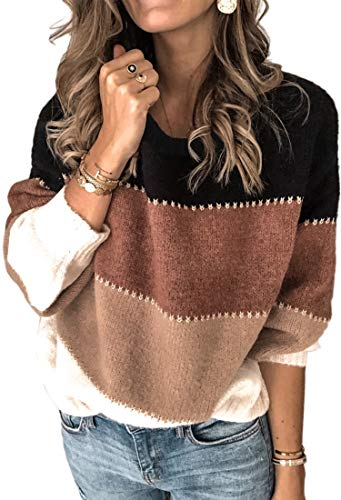 Angashion Women's Sweaters Casual Long Sleeve Crewneck Color Block Patchwork Pullover Knit Sweater Tops Black M