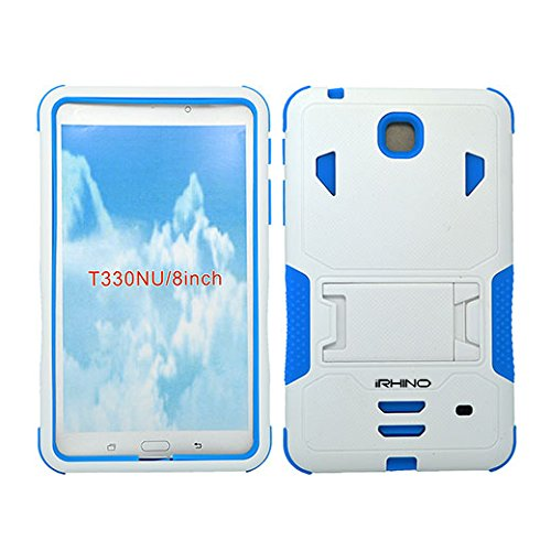 [iRhino] TM WHITE-BLUE Heavy Duty rugged impact Hybrid Case cover with Build In Kickstand Protective Case For Samsung galaxy Tab 4 8.0 inch T330 Tablet
