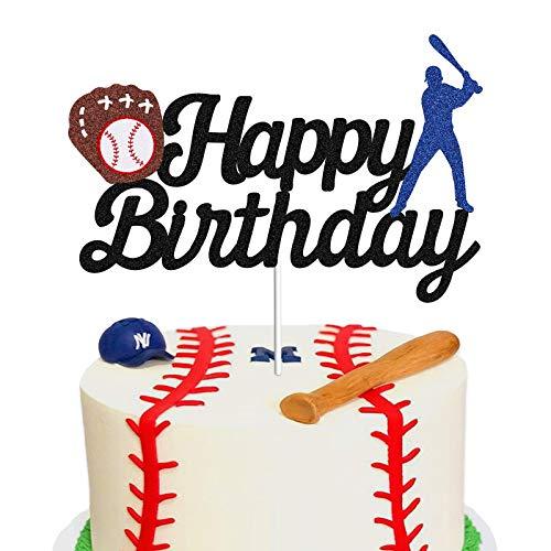 Baseball Theme Cake Topper - Happy Birthday Cake Topper for Birthday / Baseball / Sports Party Theme Decoration (Black Glitter)