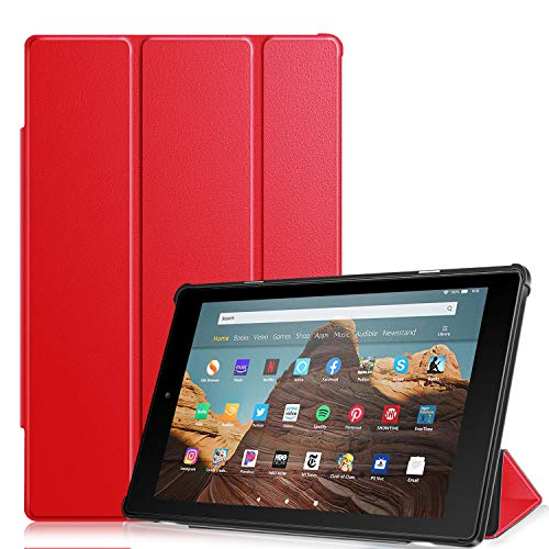 Fintie Hülle kompatibel mit Amazon Fire HD 10 Tablet (9. & 7. Generation - 2019 & 2017) - Slim Cover Lightweight Schutzhülle Tasche mit Standfunktion & Auto Schlaf/Wach Funktion, Rot