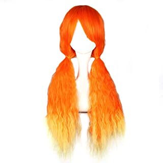 Hairpieces Hairpieces Fashian Girls Harajuku Style Lolita Wig Air Roll Long Hair Wig Cosplay Wig for Daily Use and Party (Color : Orange red Gradient)