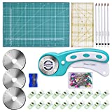 BONROB 131 PCS Rotary Cutter Set 45mm Cutter Kit with A3 Cutting Mat, 3 Replacement Blades, Patchwork Ruler, Craft Clips, Sewing Pins & Chalk Crafting, Patchworking, Knitting