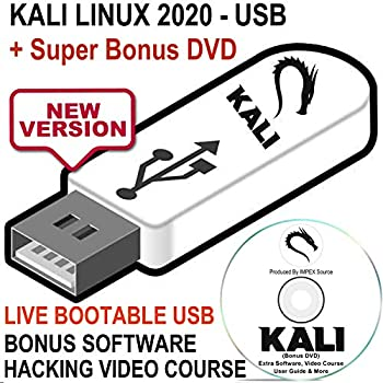 Kali Linux 2020 USB Bootable Live Install Linux OS - Newest Version Penetration Testing Operating System + Ethical Hacking Course & Bonus Software DVD Disk