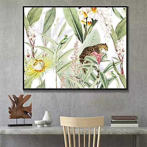 YuanMinglu Minimalistische grüne Pflanze Moderne Leinwand Ölgemälde Wohnkultur Wohnzimmer Wandmalerei Nordic Poster Wohnkultur rahmenlose Malerei 37.5X45CM