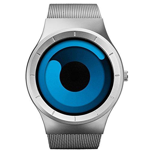 BOFUTE Herren wasserdichte Swirl Dial Edelstahl Stylische Mode Sportuhr Uhren Mit Mesh Armband Silber Blau