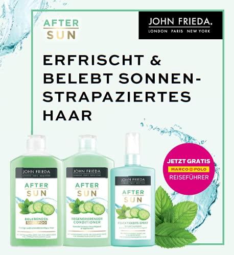 John Frieda After Sun Vorteils-Set - Inklusive Gutschein für Gratis-Marco-Polo-Reiseführer - Shampoo, Conditioner, Feuchtigkeitsspray, 650 ml