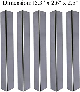 GasSaf 15.3 inch Flavorizer Bars Repalcement for Weber 7636, Spirit 300 E310 E320 Series Gas Grill with Front-Mounted Control Panel Stainless Steel (L15.3 x W2.6 x T2.5inch, 5-Pack)