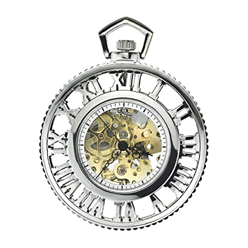 NCRD Reloj de Bolsillo mecánico Antiguo de Hombre, Reloj de Bolsillo Retro (Color : Silver)