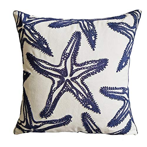Only Cover,FINOHOME Embroidery Navy Starfish Throw Pillow Cover,Ocean Series Nautical Decorative Pillow Case Cushion Cover for Sofa Coastal Beach Theme Home Decor 17x17