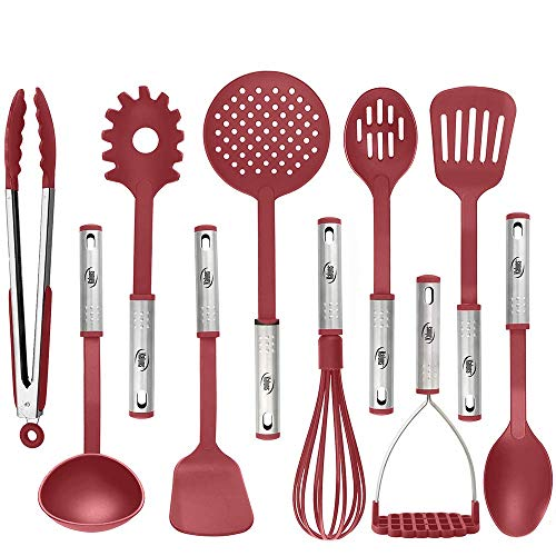Cooking Utensils, 10 Nylon Stainless Steel Kitchen Supplies Non Stick and Heat Resistant Cookware set New Chef's Gadget Tools Collection Great Silicone Spatula Best Holiday Gift Idea. (Red)