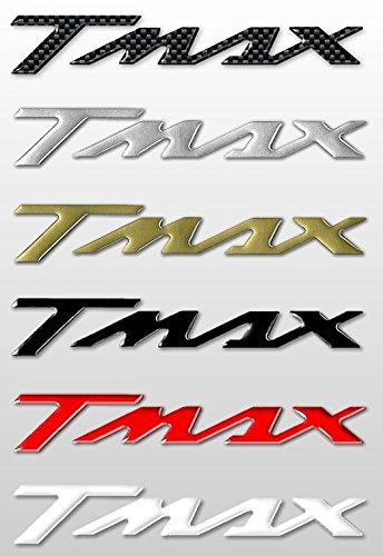 2 ADESIVI/STICKERS in RESINA 3D SCRITTA TMAX per SCOOTER compatibile con MOTO YAMAHA T MAX 500-530