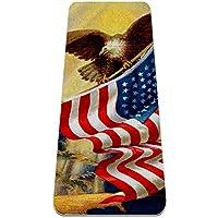 ヨガマット 古い栄光を祝う私たちのアメリカの国旗ビンテージのイラスト あらゆるタイプのヨガ、ピラティス、フロアワークアウト用の極厚の滑り止めエクササイズ&フィットネスマット