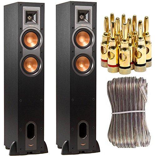 Klipsch R-24F Dual 4.5-inch Floorstanding Two Speaker Bundle includes Two R-24F Speakers, 16 Gauge 100 ft Heavy Duty Speaker Wire and Brass Speaker Banana Plugs, 5-Pair, Open Screw Type