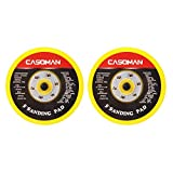 CASOMAN 5-Inch DA Polisher & Sander Pad - Hook & Loop Face - Random Orbital Backing Plate, 5/16''-24 Threads, 2 PCS Set