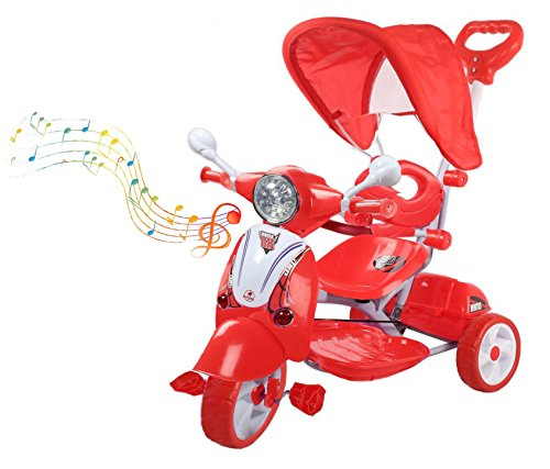 Baybee Vespa Trolly Cycle with Canopy and Parent Control (Red)