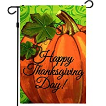DURABLE POLYESTER MATERIAL - The thanksgiving garden flag is made of durable 150D polyester material, which is more durable than the traditional 75D and 100D GARDEN FLAG SIZE - The flag size is 12 x 18 inch (32 x 46 cm) DESIGN FOR FALL AND THANKSGIVI...