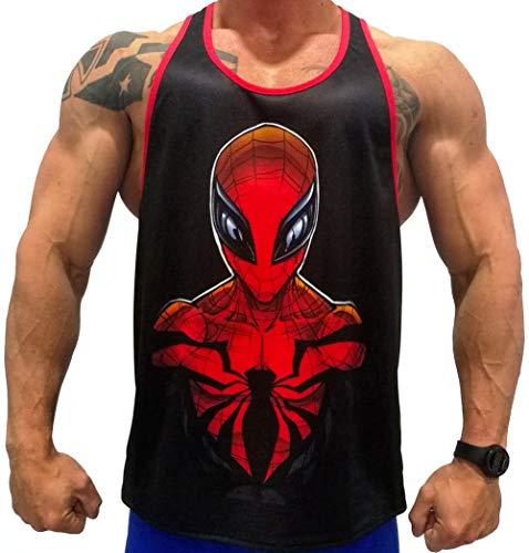 Camisa Fitness de Tirantes para Hombre para Entrenar en el Gimnasio y Gym. T-Shirt Bodybuilding Transpirables. (Spiderman Micro)