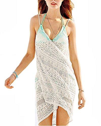 Keven Damen Strandkleid Kurz, Sommer Cover Up Bikini Kleider (Weiß)