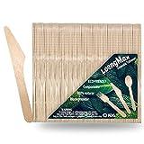 LoengMax Einwegbesteck Holzmesser-Holzbesteck Einwegmesser-100 % natürlich, umweltfreundlich, biologisch abbaubar und kompostierbar