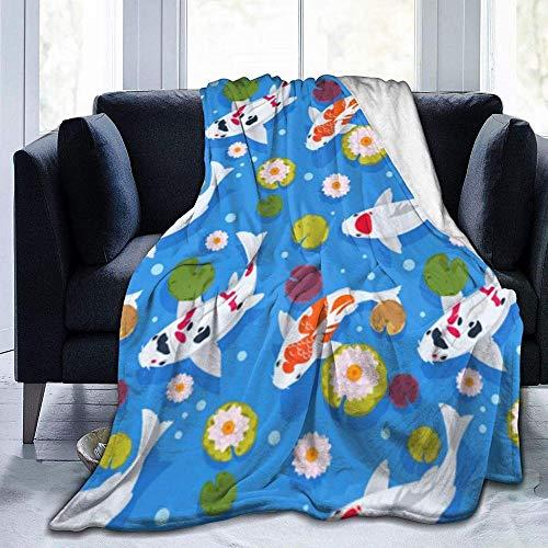 HDAXIA Manta,Carpa Japonesa de Patrones sin Fisuras con Peces koi en China, vellón de Franela cálido Ultra Suave, Ligero para sofá Cama, sofá, Viaje, Camping para niños y Adultos