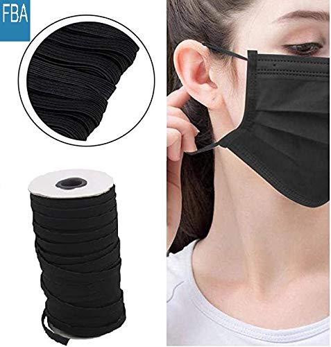 NIKB Elastic Band for Sewing 1/4 inch 100-Yards, Black Elastic Flat/Braided Elastic Cord for Masks/Elastic Rope for Crafting/Heavy Stretch Knit Elastic Spool/Available for Men and Women