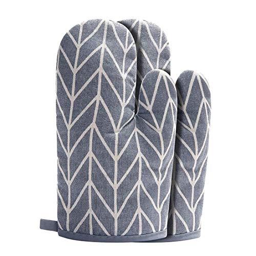 KWELRP - Juego de 2 manoplas para horno de barbacoa, guantes de horno con algodón reciclado antideslizante para cocinar a la parrilla (gris)